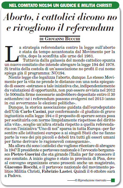 Articolo ItaliaOggi del 29 settembre 2012
