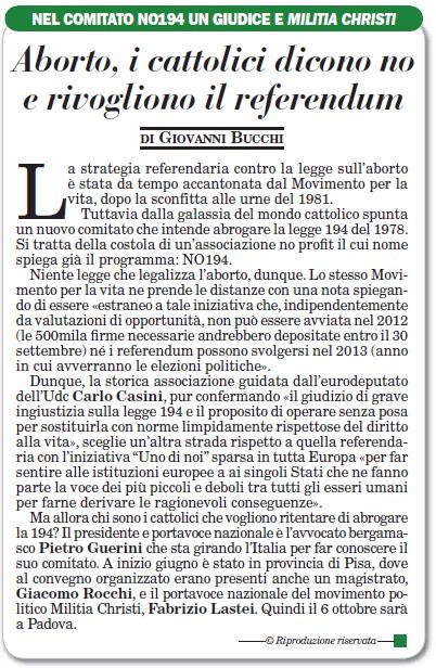 Articolo ItaliaOggi del 29 settembre 2012